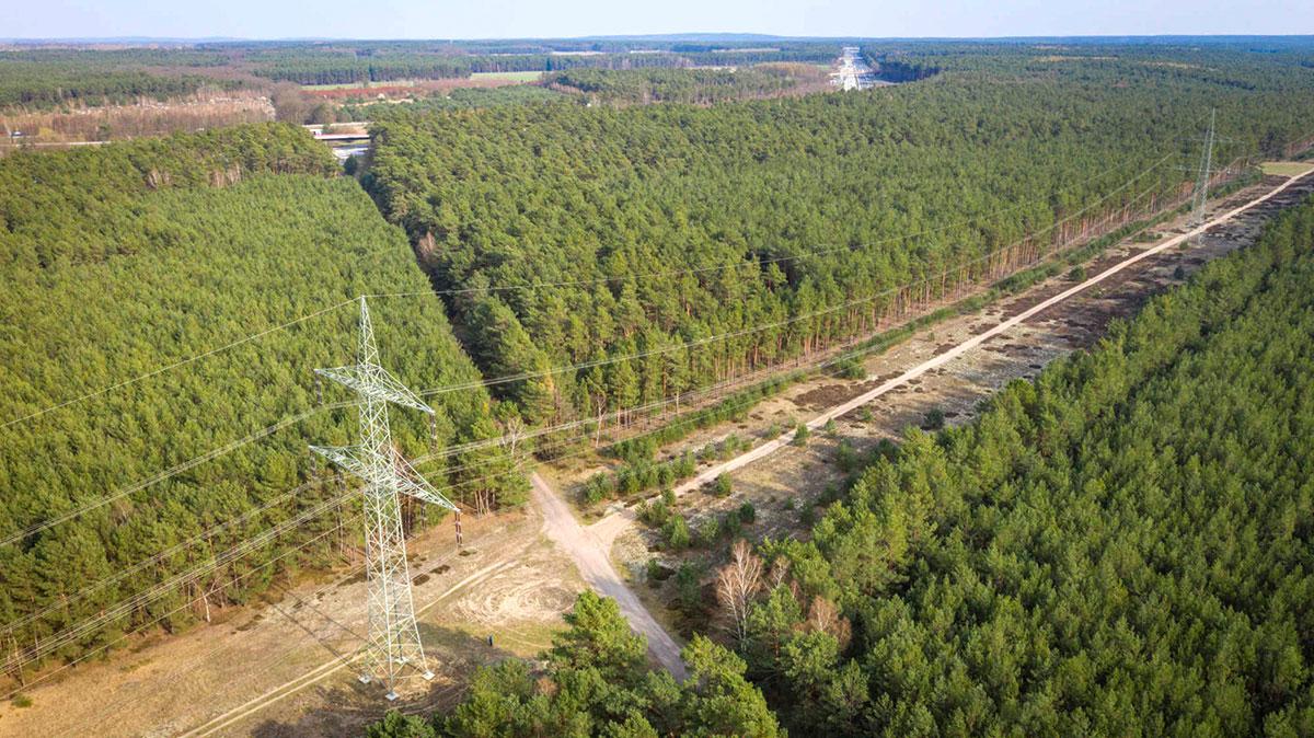 Blick auf Teile des Planungsgebiets Bliesendorfer Heide zwischen Autobahn und Stromtrasse
