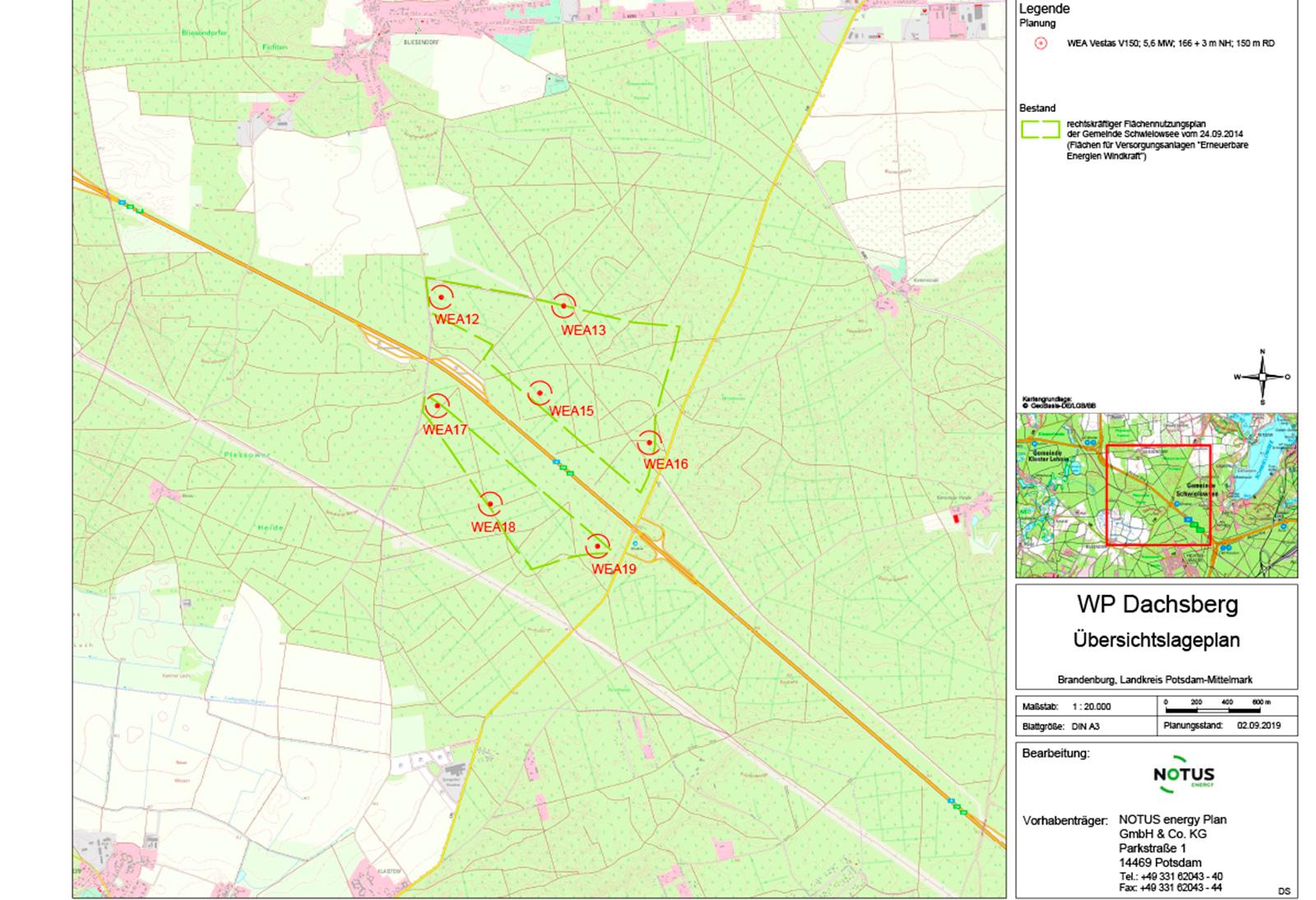 Übersichtslageplan WP Dachsberg 7 Anlagen