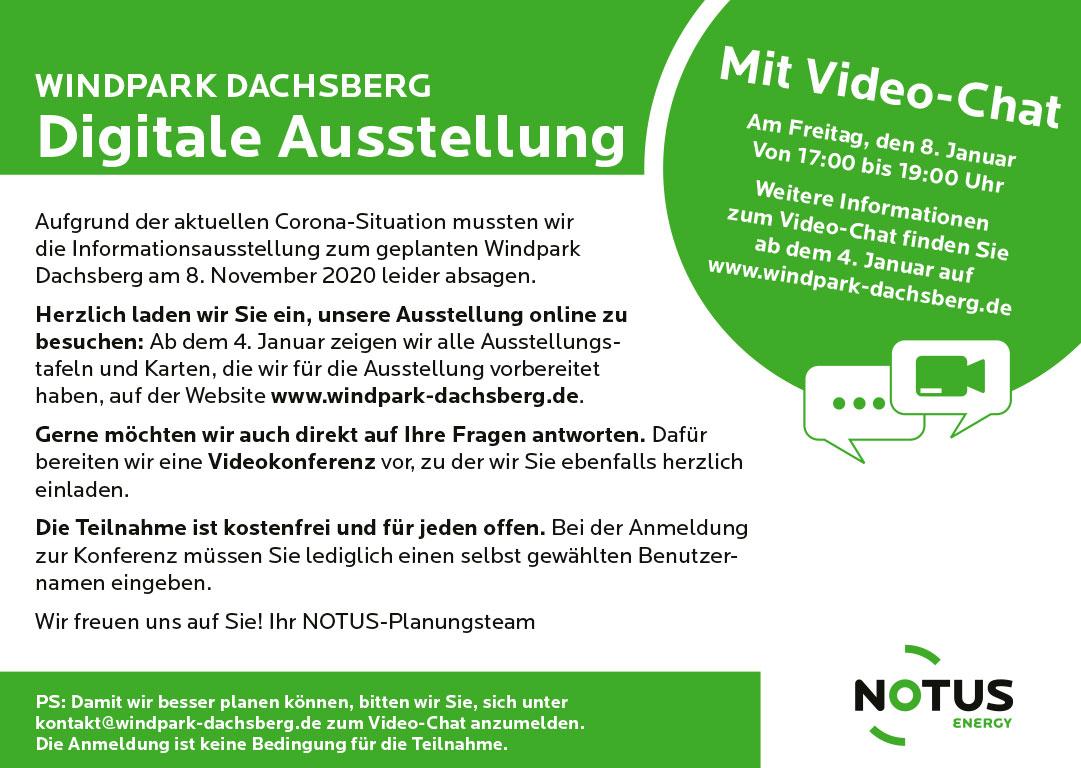 Anzeige im Havelboten zur Infoveranstaltung und Video-Chat Windpark Dachsberg